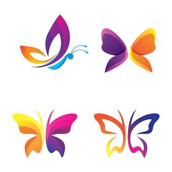 Progettazione dell'illustrazione di immagini di logo della farfalla di bellezza