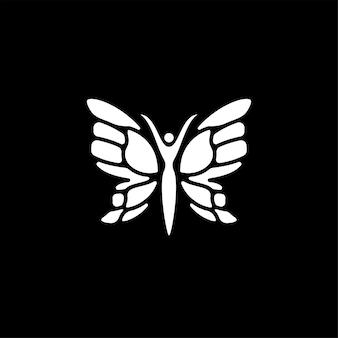 Design del logo del simbolo della donna della farfalla di bellezza
