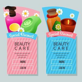 Banner verticale della campagna di cure di bellezza