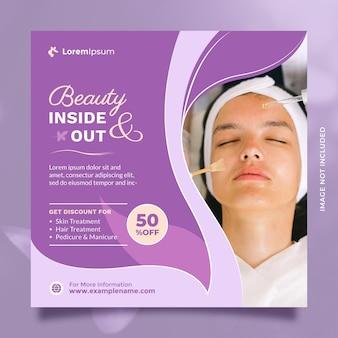 Promozione del modello di banner e post sui social media del centro di cura di bellezza con un bellissimo colore viola