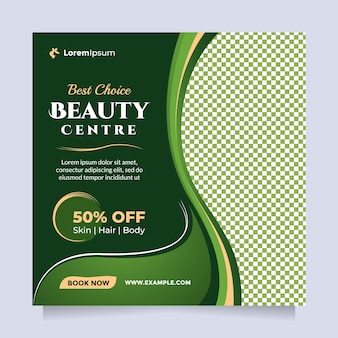 Promozione del modello di banner e post sui social media del centro di cura di bellezza con tema verde naturale