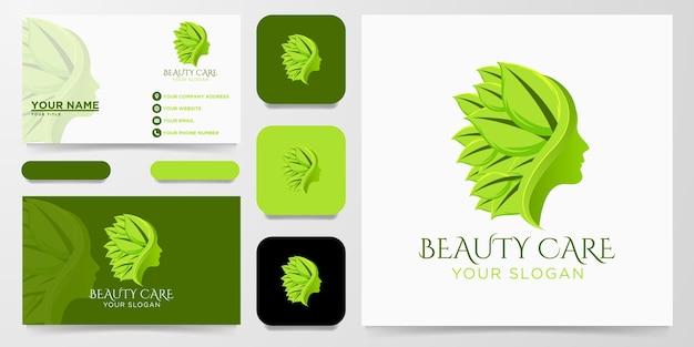 Fronte della donna di cura di bellezza, logo della foglia della natura