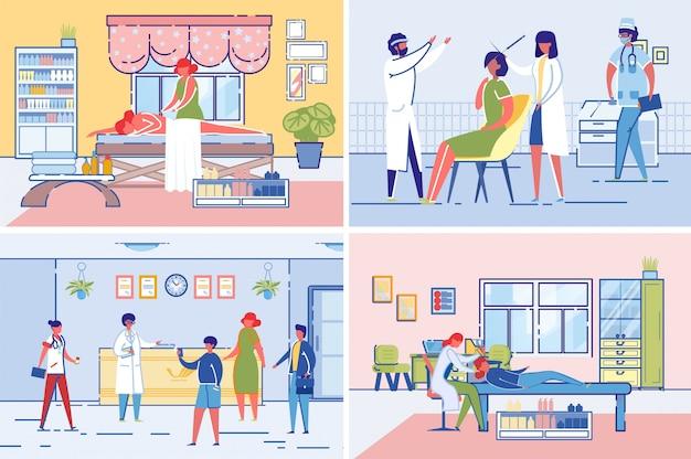 Set di procedure cliniche di bellezza e hall di accoglienza.