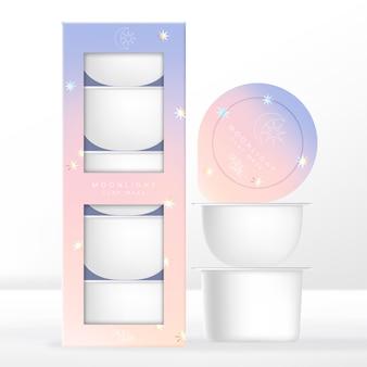 Capsule o cialde di bellezza, caffè o bevande confezionate con scatola di cartone. design a tema chiaro di luna gradiente pastello.