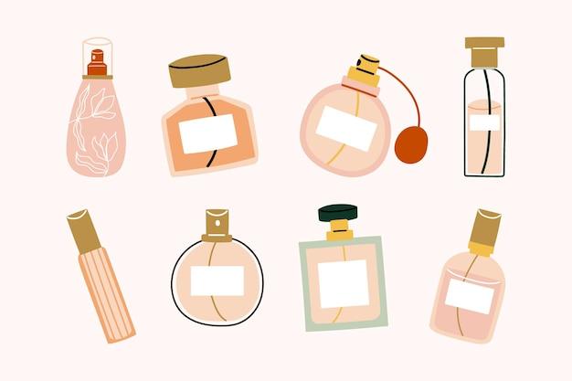 Collezione di bellezza di bottiglie piatte disegnate a mano di illustrazione di elementi di profumo