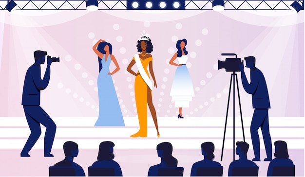 Illustrazione piana finale di concorso di bellezza Vettore Premium