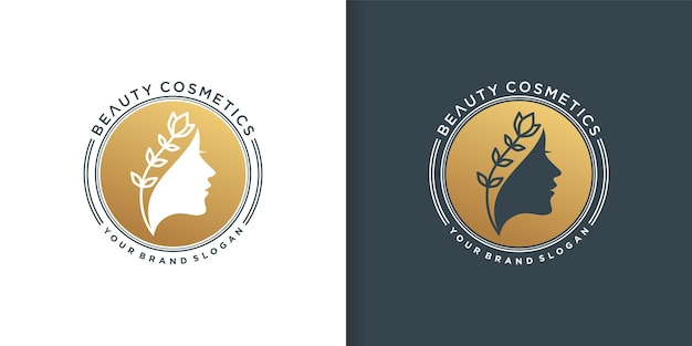 Logo dorato di cosmetici di bellezza per le donne