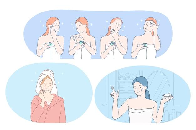 Bellezza, cosmetici, trucco, cura della pelle, concetto di benessere. personaggi dei cartoni animati di giovani donne sorridenti utilizzando