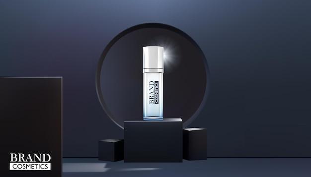 Prodotto di cosmetici di bellezza sul palco della scatola nera con sfondo astratto