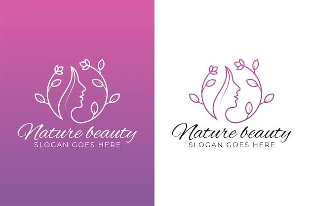 Il viso di bellezza si combina con il logo di foglie e fiori per parrucchiere donna