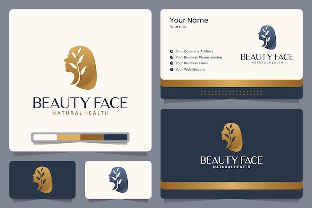 Volto di bellezza, natura, ragazza, foglie, colore oro, design del logo e biglietto da visita