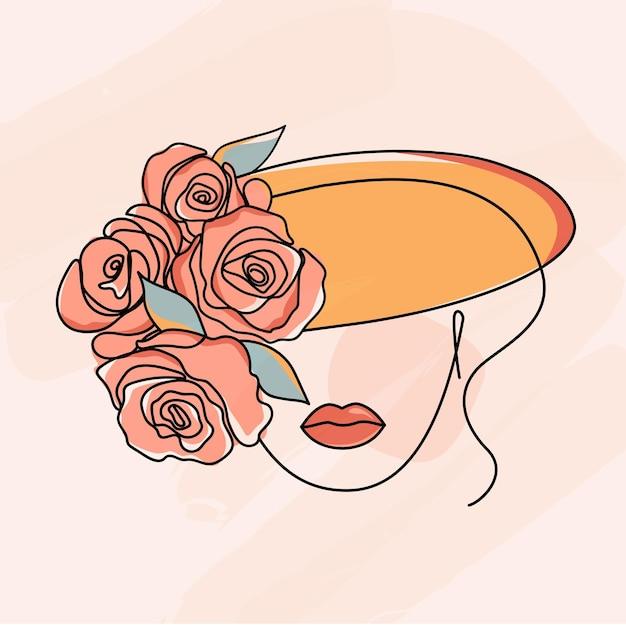 Faccia di bellezza con fiori disegno al tratto arte stile minimalismo donna con e fiori vettore