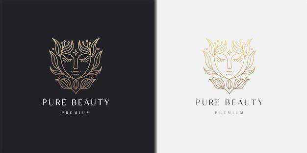 Donna del fronte di bellezza con modello di progettazione dell'icona di logo di pendenza di stile della linea floreale della foglia della natura