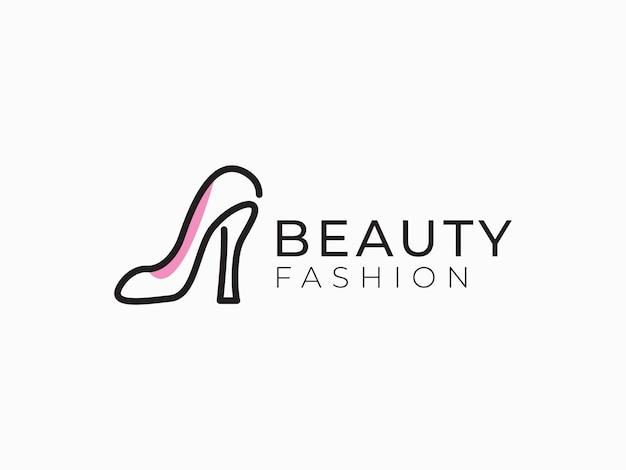 Illustrazioni di linea mono di scarpe di concetto di design del logo di moda di bellezza