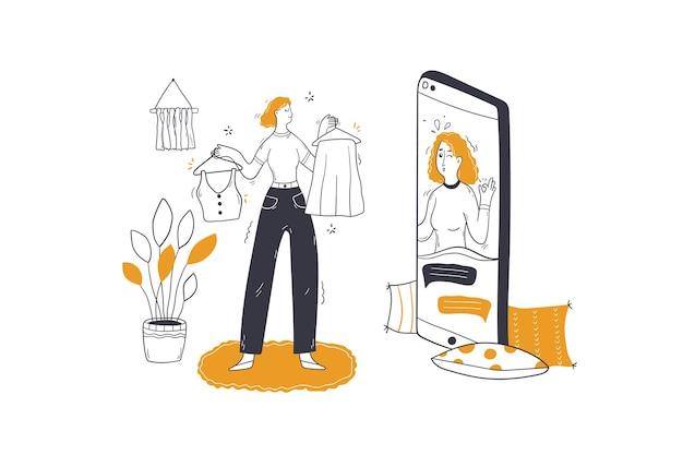 Bellezza, moda, illustrazione di concetto di consultazione dello shopping