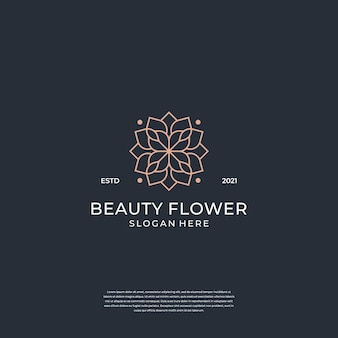 Modello di logo del fiore femminile di bellezza. salone minimalista, lussuoso, elegante.