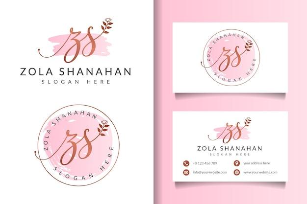 Collezioni di logo femminile di bellezza con modello di biglietto da visita