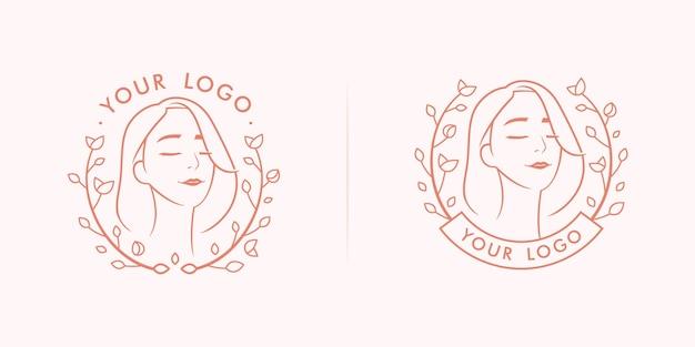 Emblema del logo della donna femminile di bellezza