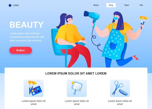 Pagina di destinazione piatta di bellezza. il parrucchiere fa l'acconciatura per la giovane donna nella pagina web del salone di bellezza.