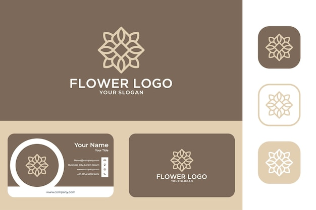 Design del logo e biglietto da visita della geometria del fiore di bellezza