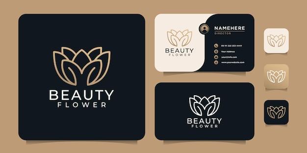 Design del logo della linea di fiori di bellezza per hotel spa