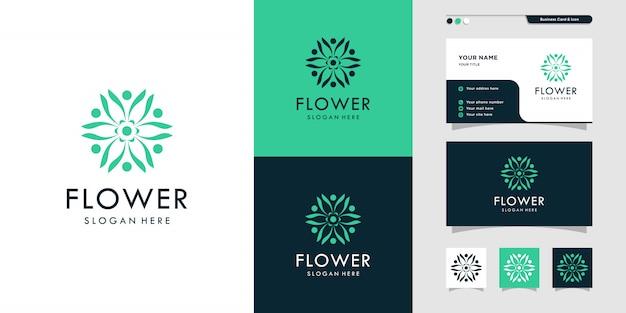 Logo del fiore di bellezza ed illustrazione di progettazione di biglietto da visita. bellezza, moda, salone, spa, yoga