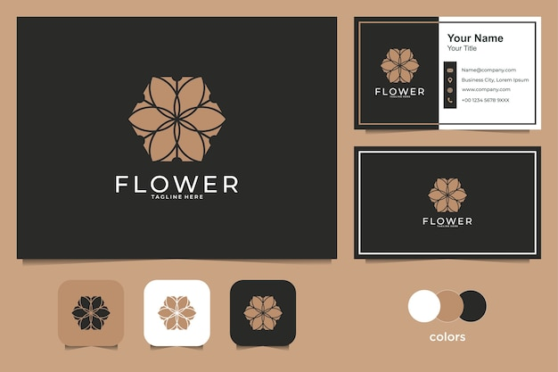 Disegno di marchio del fiore di bellezza e biglietto da visita