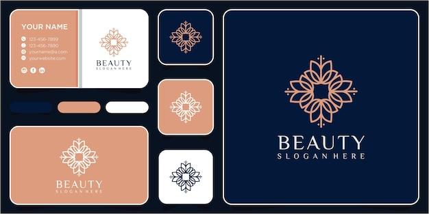 Modello di progettazione di logo del fiore di bellezza con biglietto da visita. disegno del logo della linea di fiori