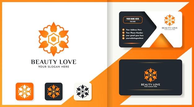 Il design del logo del fiore di bellezza usa il concetto di amore e il biglietto da visita