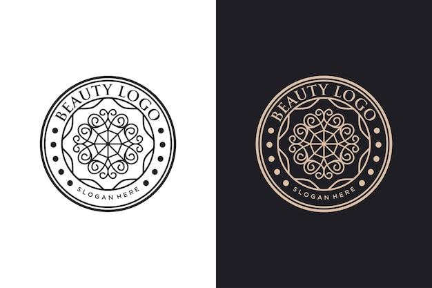 Design del cerchio vintage con logo del fiore di bellezza