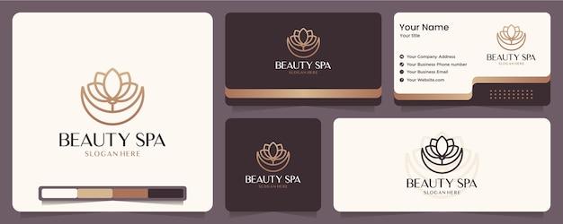 Fiore di bellezza, loto, spa, equilibrio, biglietto da visita e design del logo