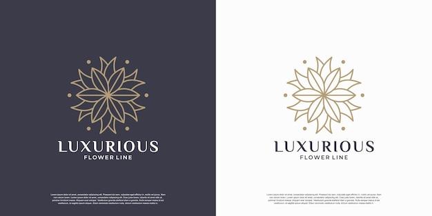 Modello di progettazione del logo della mandala del fiore di bellezza