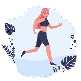 Ragazza di bellezza nel corridore di abbigliamento sportivo, jogging, passeggiate sportive. illustrazione piana di vettore di stile del fumetto su bianco