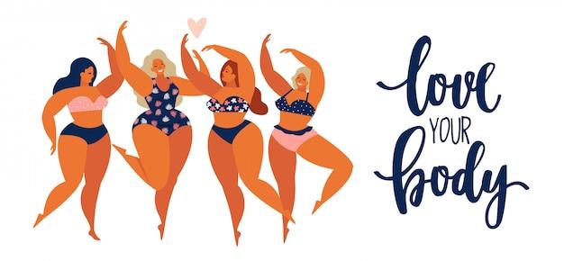 Donne positive del corpo delle ragazze di bellezza differenti in costume da bagno.