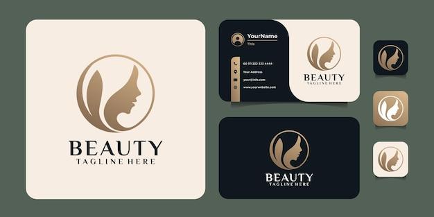 Logo della donna del parrucchiere dell'oro di bellezza