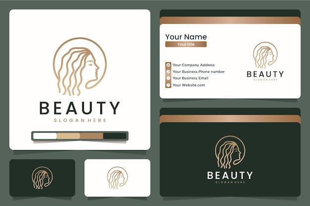 Arte della linea di capelli di bellezza, ispirazione per il design del logo