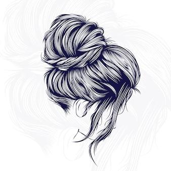 Illustrazione di disegno vettoriale di capelli di bellezza