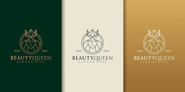 Forma del cerchio del modello di progettazione di logo della donna del salone di parrucchiere di bellezza