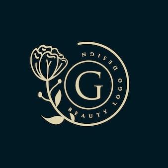 Bellezza disegnato a mano logo floreale femminile con viso e capelli adatto per ragazza fitness capelli bellezza salute cosmetico salone spa per capelli naturale