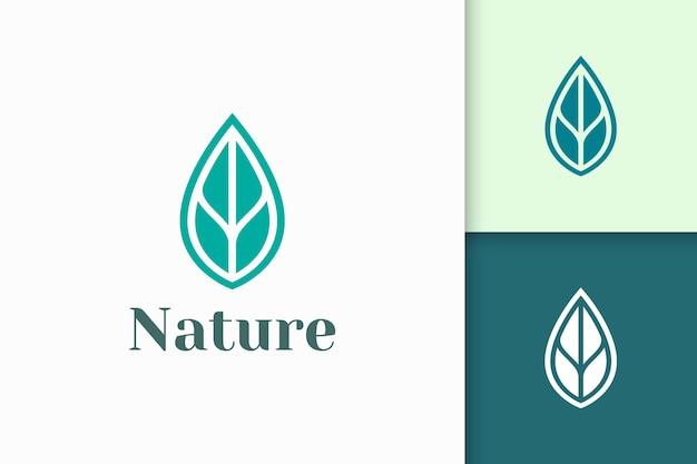 Logo di bellezza o salute a forma di foglia astratta e minimalista