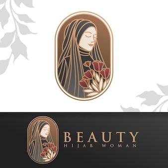 Modello di logo donna hijab di bellezza