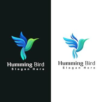 Modello di progettazione di logo animale colibrì di bellezza o colibri Vettore Premium