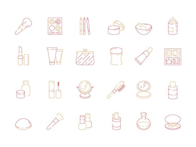 Icone di bellezza. gli oggetti di trucco per le donne rossetto smalto crema ombretti cosmetici vettore simboli colorati