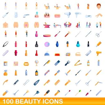 Set di icone di bellezza. illustrazione del fumetto delle icone di bellezza impostata su priorità bassa bianca