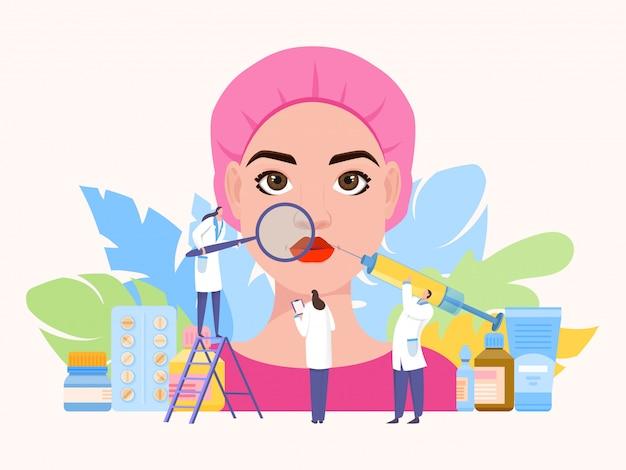 Illustrazione del lavoro di gruppo dell'iniezione di bellezza. l'acido ialuronico corregge il contorno e la forma del viso, delle palpebre. l'infermiera prende appunti.
