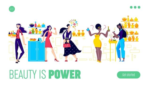 La bellezza è la pagina di destinazione del modello di potenza con le donne che scelgono nuovi profumi nel negozio di cosmetici.