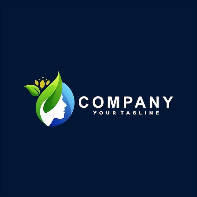 Design del logo gradiente di bellezza signora