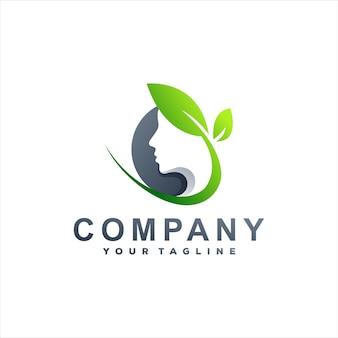 Design del logo sfumato della signora di bellezza