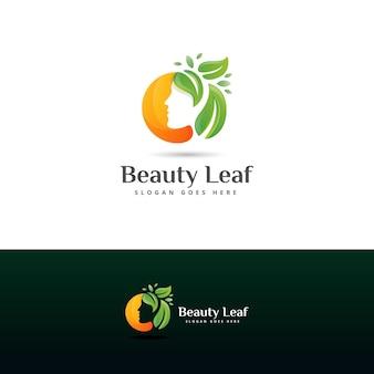 Modello di progettazione del logo della foglia di bellezza