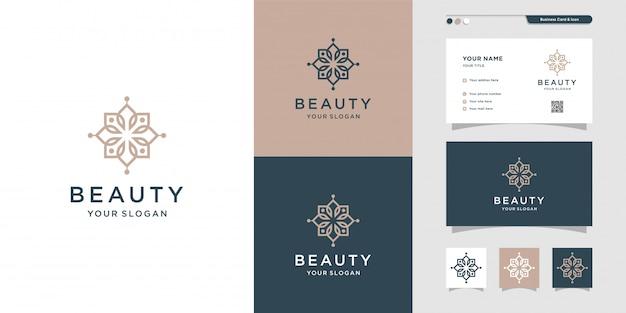 Illustrazione di progettazione di logo e biglietto da visita di bellezza. bellezza, moda, salone, spa, yoga, fiore premium